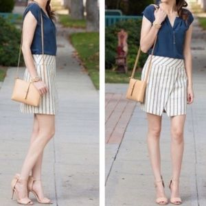 Striped Crossover Wrap Skirt